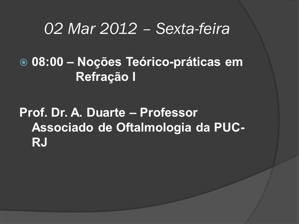 02 Mar 2012 – Sexta-feira 08:00 – Noções Teórico-práticas em Refração I.