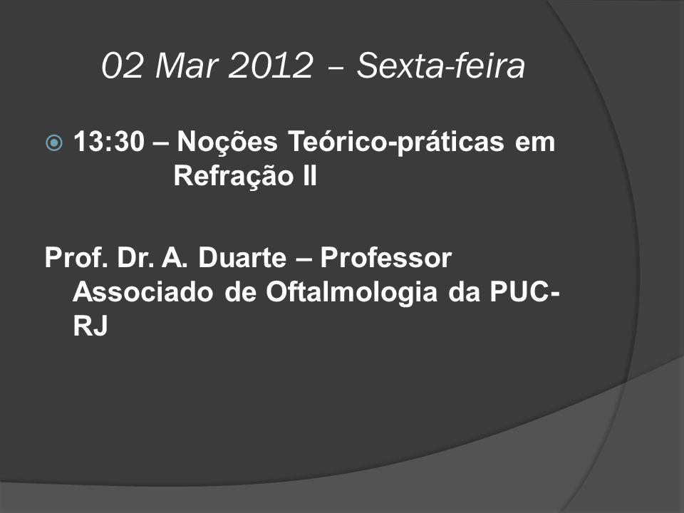 02 Mar 2012 – Sexta-feira 13:30 – Noções Teórico-práticas em Refração II.