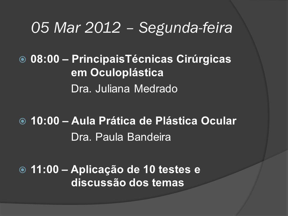 05 Mar 2012 – Segunda-feira 08:00 – PrincipaisTécnicas Cirúrgicas em Oculoplástica. Dra. Juliana Medrado.