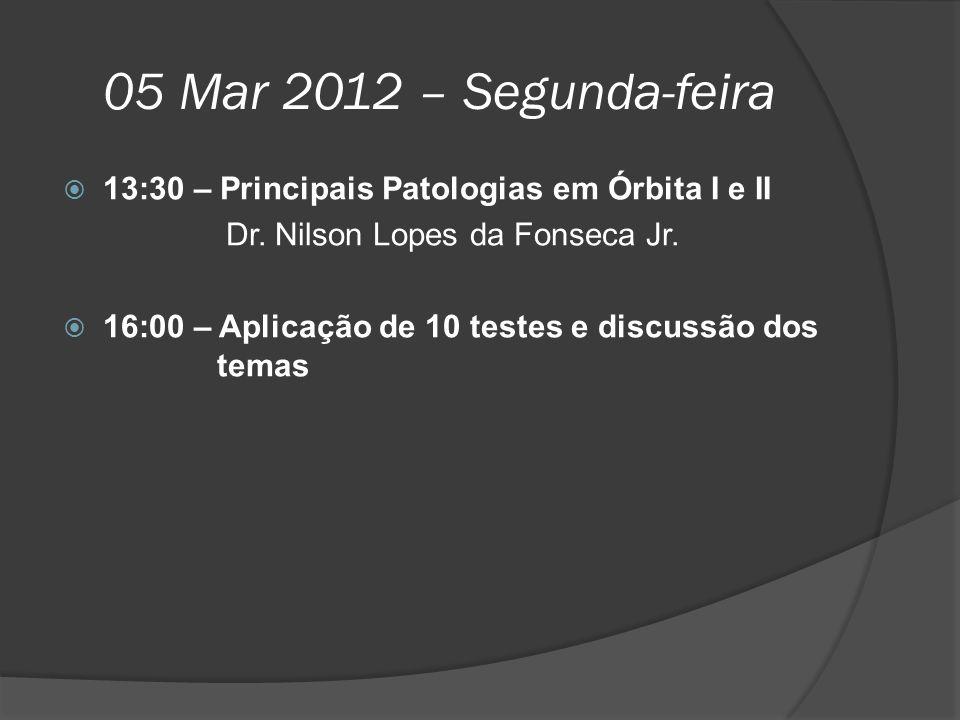05 Mar 2012 – Segunda-feira 13:30 – Principais Patologias em Órbita I e II. Dr. Nilson Lopes da Fonseca Jr.