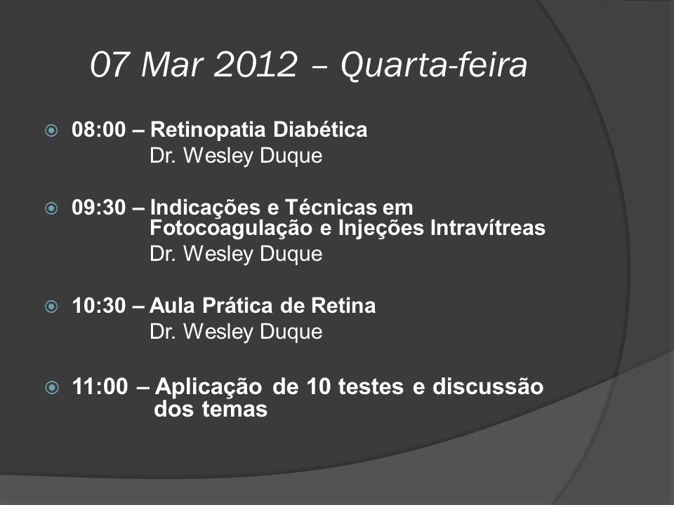 07 Mar 2012 – Quarta-feira 08:00 – Retinopatia Diabética. Dr. Wesley Duque.