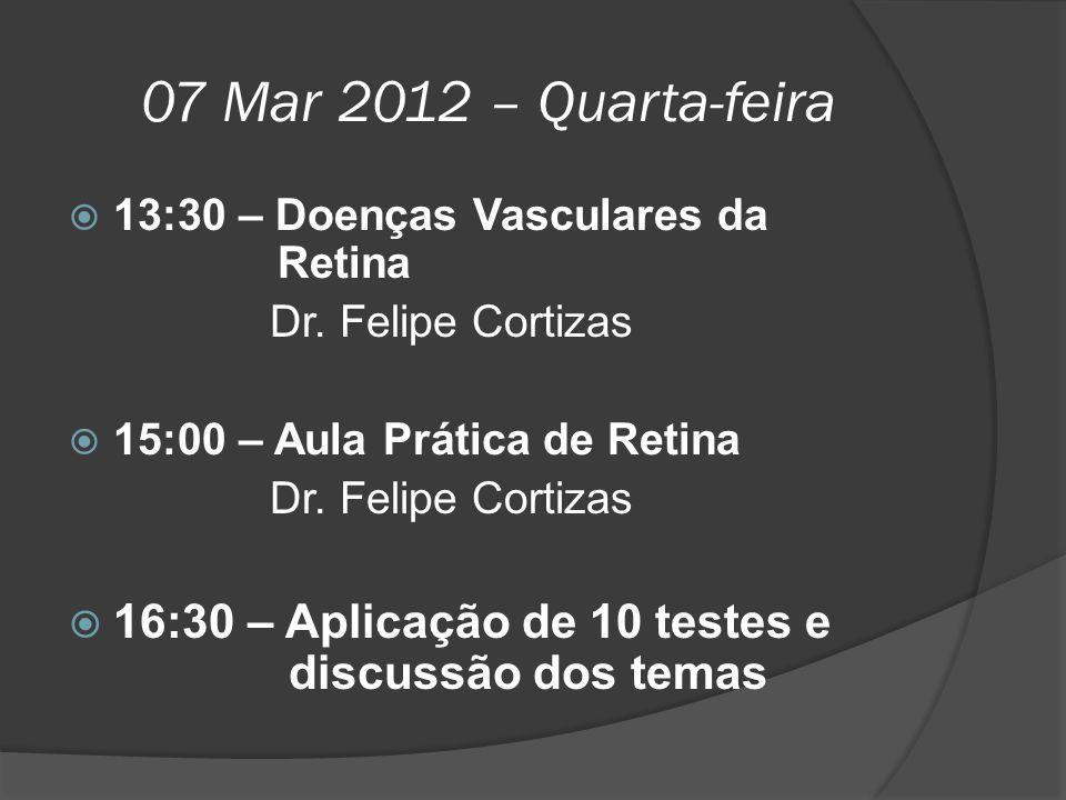 07 Mar 2012 – Quarta-feira 13:30 – Doenças Vasculares da Retina. Dr. Felipe Cortizas. 15:00 – Aula Prática de Retina.