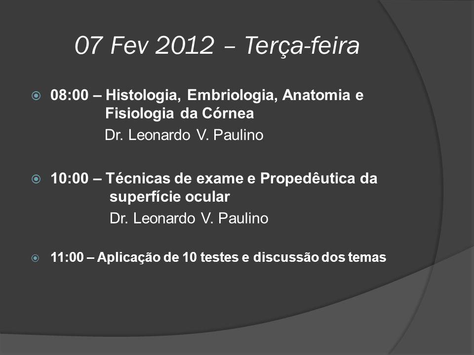 07 Fev 2012 – Terça-feira 08:00 – Histologia, Embriologia, Anatomia e Fisiologia da Córnea.