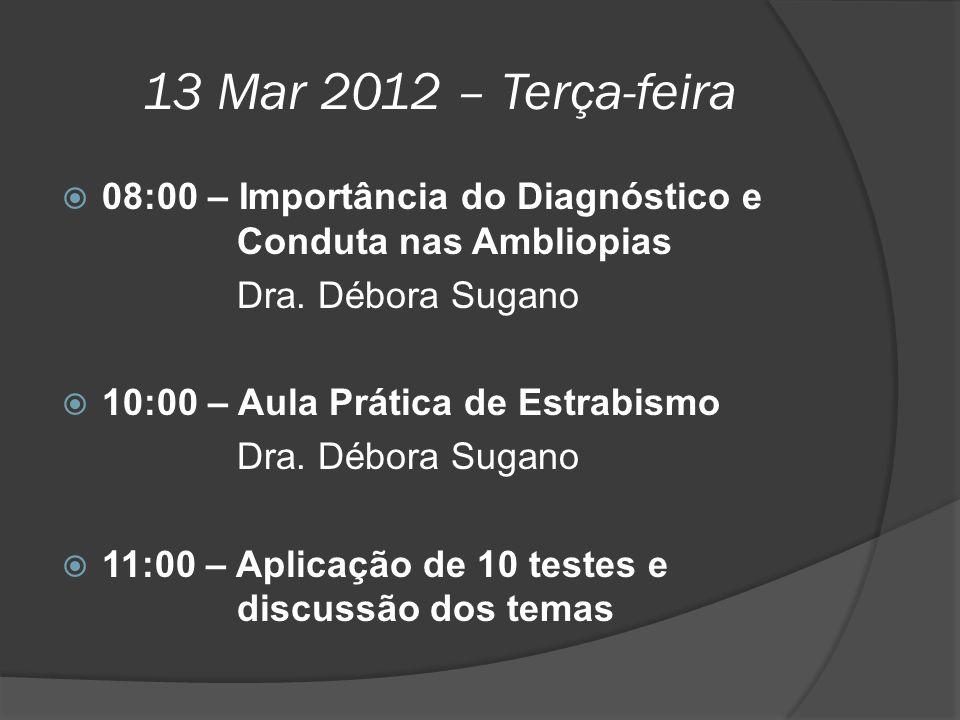 13 Mar 2012 – Terça-feira 08:00 – Importância do Diagnóstico e Conduta nas Ambliopias. Dra. Débora Sugano.