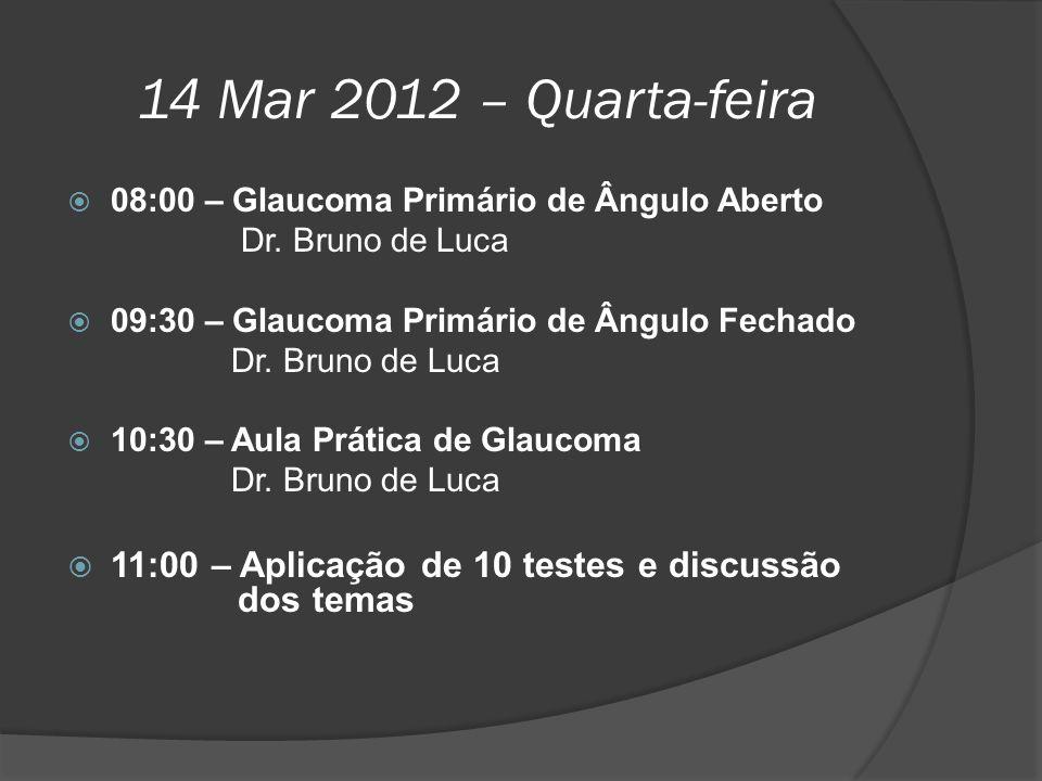 14 Mar 2012 – Quarta-feira 08:00 – Glaucoma Primário de Ângulo Aberto. Dr. Bruno de Luca. 09:30 – Glaucoma Primário de Ângulo Fechado.