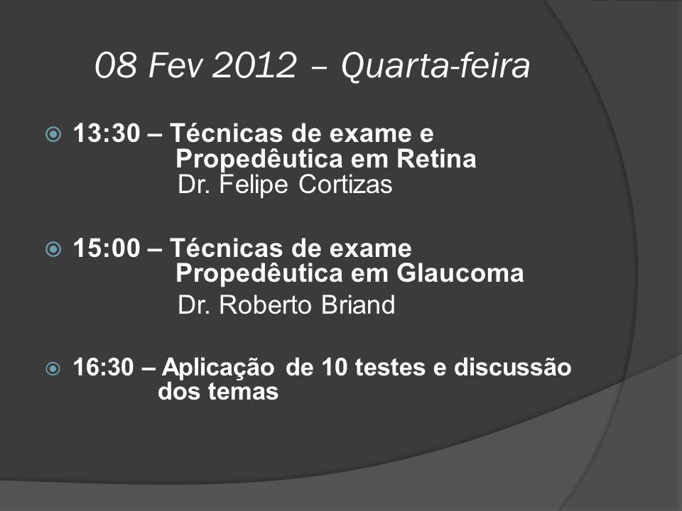 08 Fev 2012 – Quarta-feira 13:30 – Técnicas de exame e Propedêutica em Retina Dr. Felipe Cortizas.