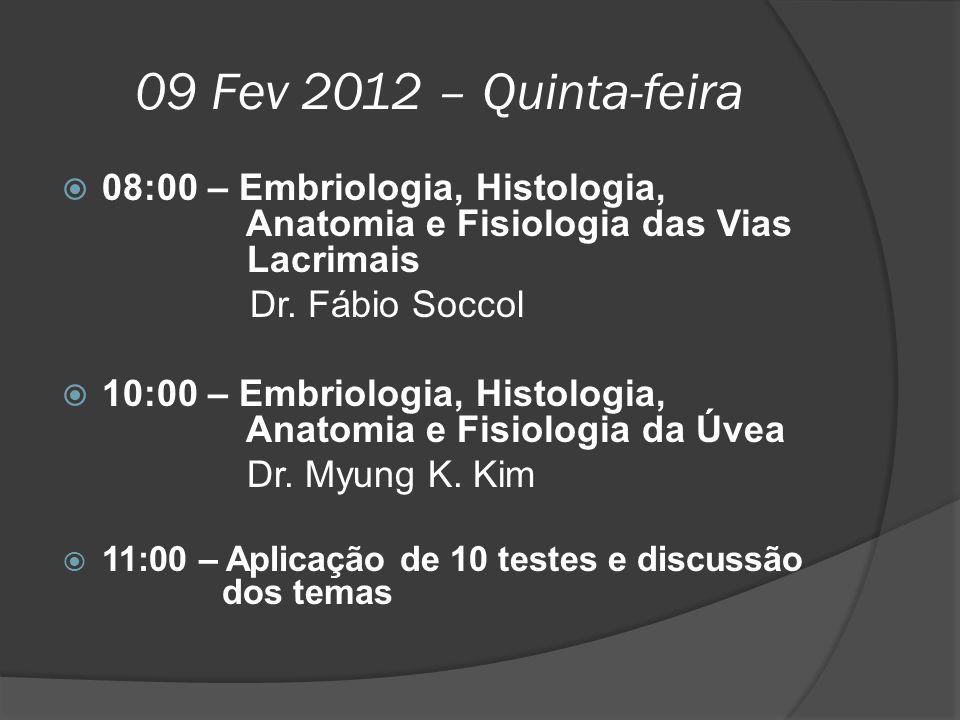 09 Fev 2012 – Quinta-feira 08:00 – Embriologia, Histologia, Anatomia e Fisiologia das Vias Lacrimais.