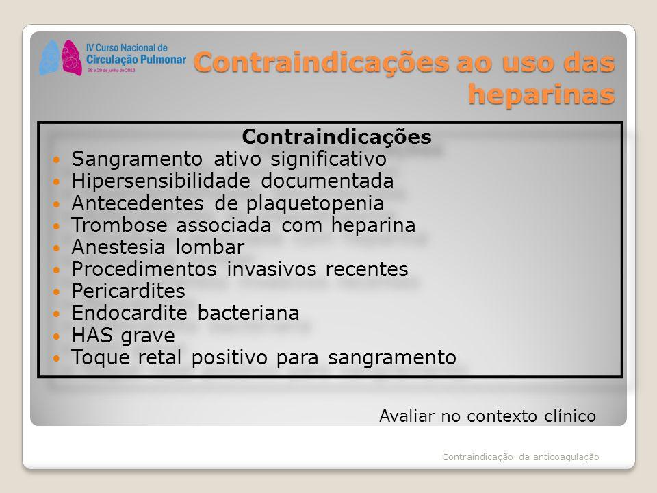 Contraindicações ao uso das heparinas