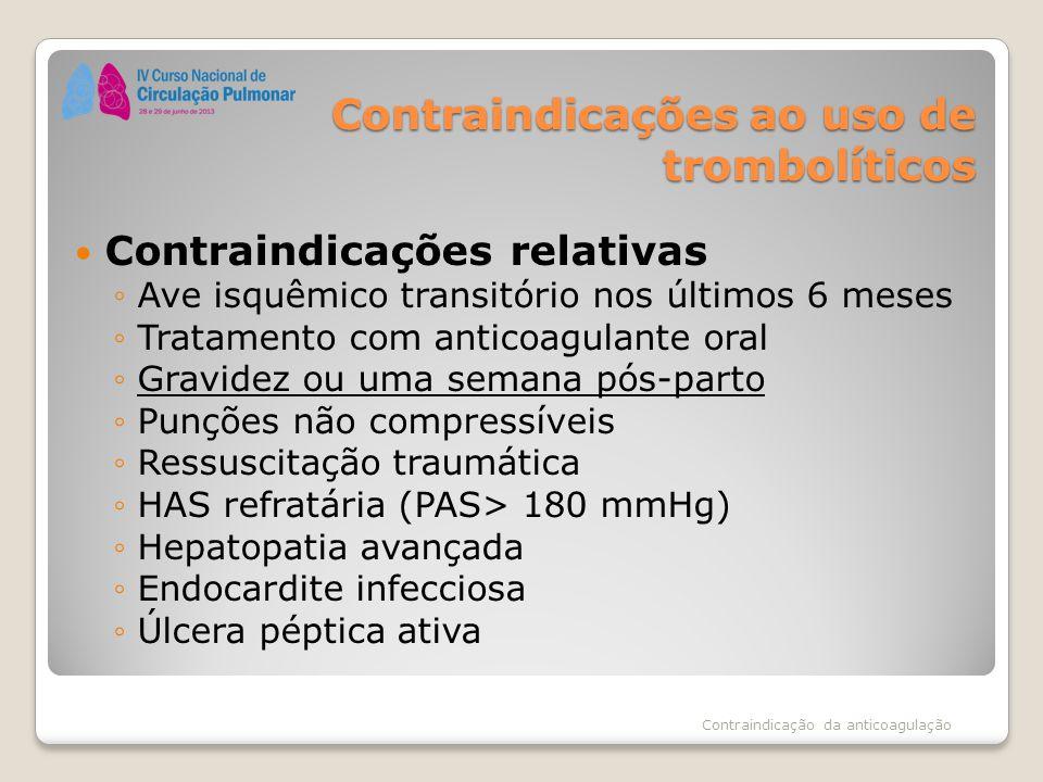 Contraindicações ao uso de trombolíticos