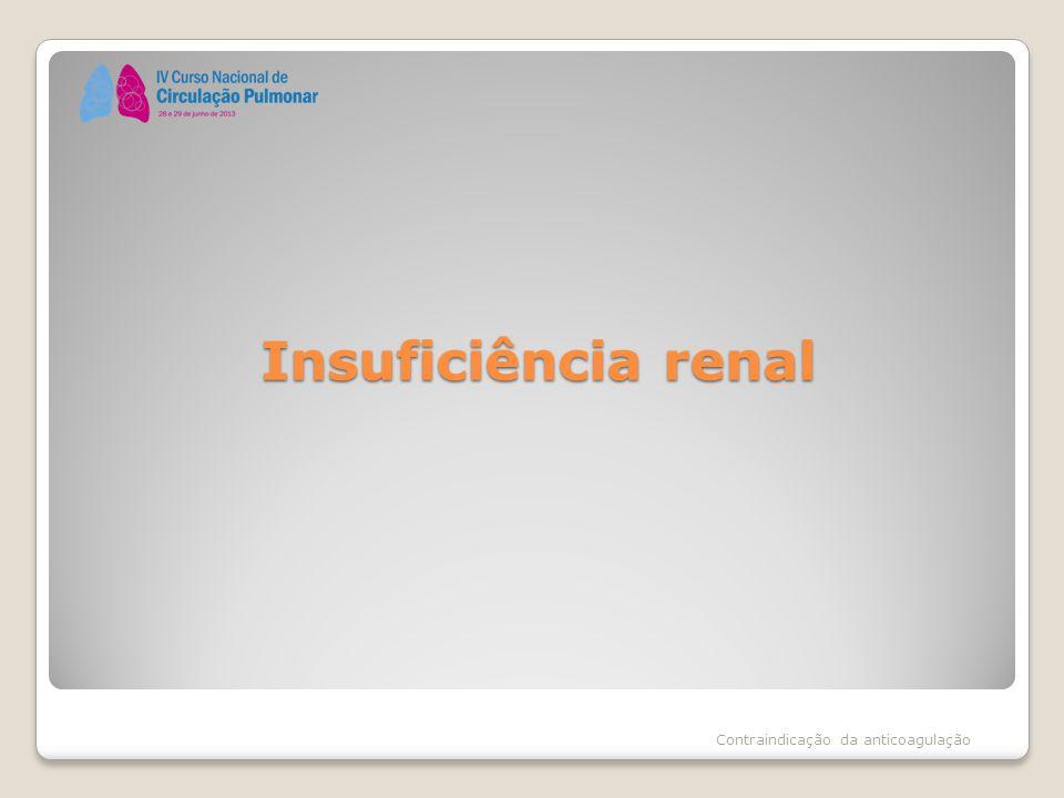 Insuficiência renal Contraindicação da anticoagulação