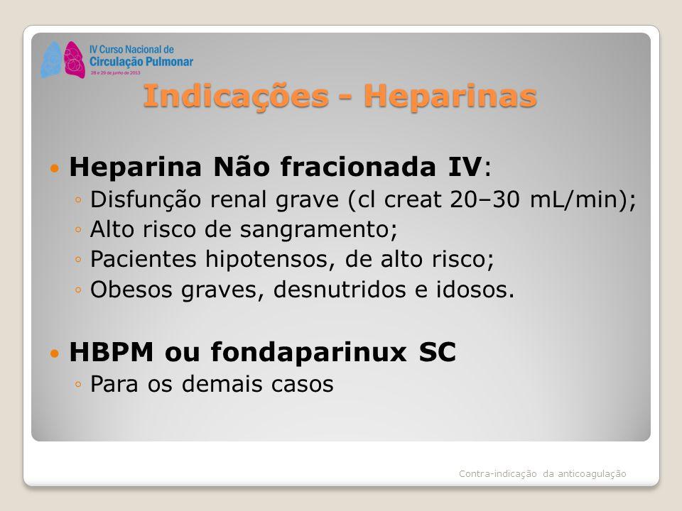 Indicações - Heparinas