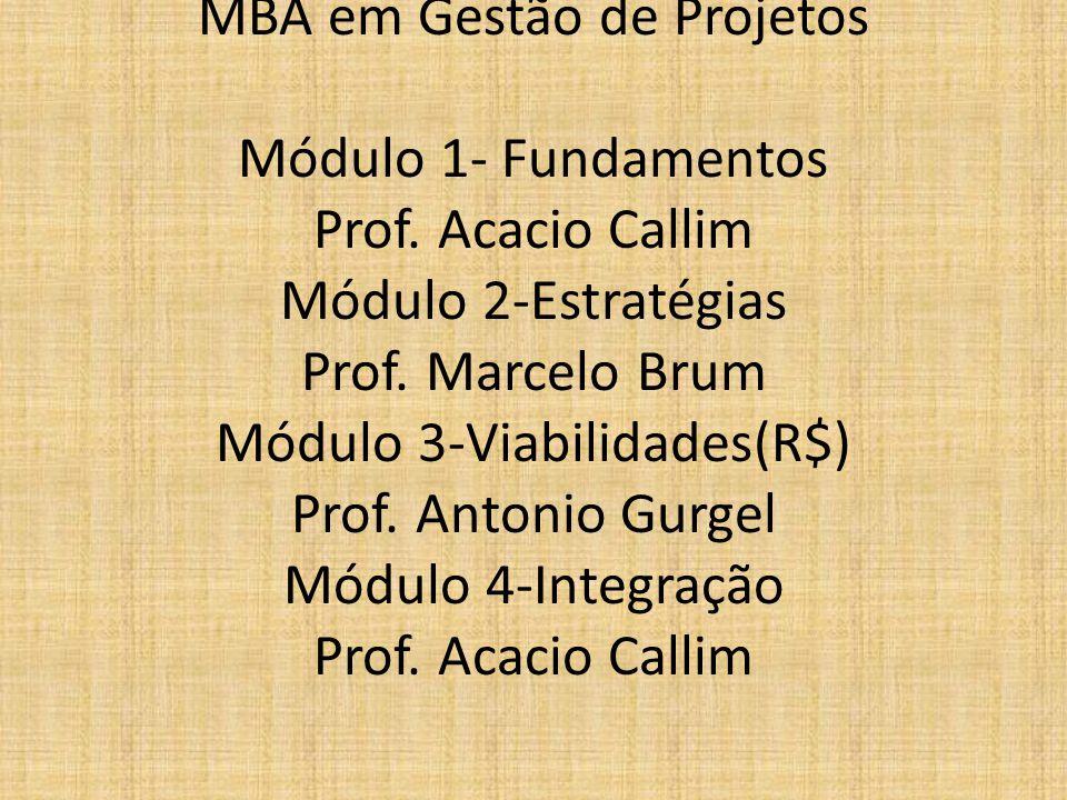 MBA em Gestão de Projetos Módulo 1- Fundamentos Prof