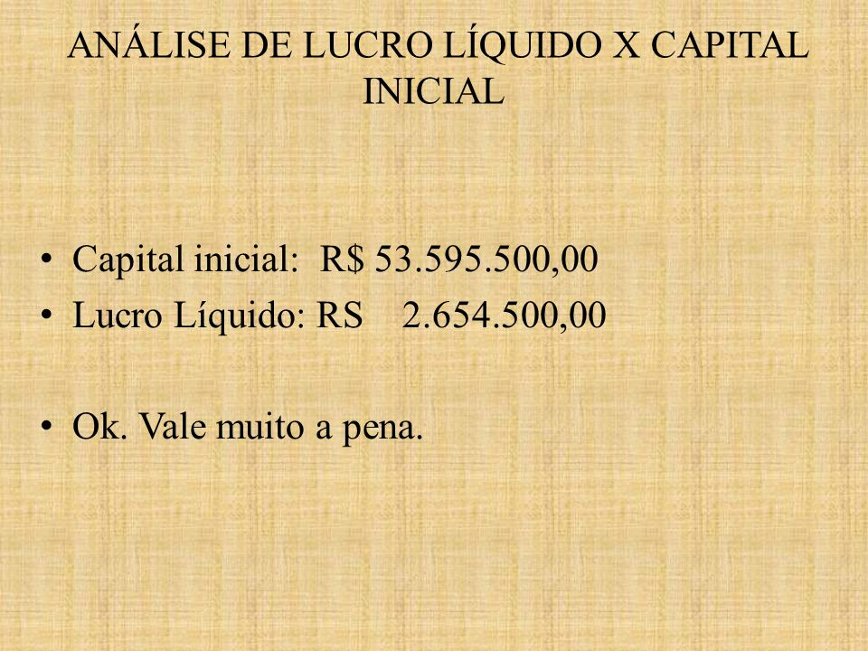 ANÁLISE DE LUCRO LÍQUIDO X CAPITAL INICIAL