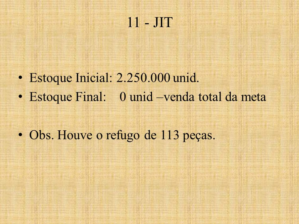 11 - JIT Estoque Inicial: 2.250.000 unid.