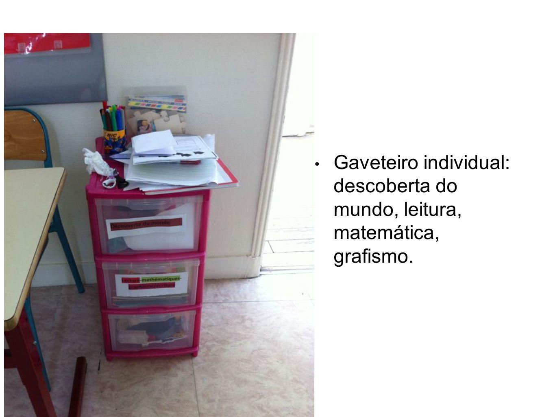 Gaveteiro individual: descoberta do mundo, leitura, matemática, grafismo.