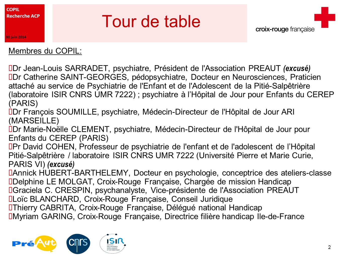 Tour de table Membres du COPIL: