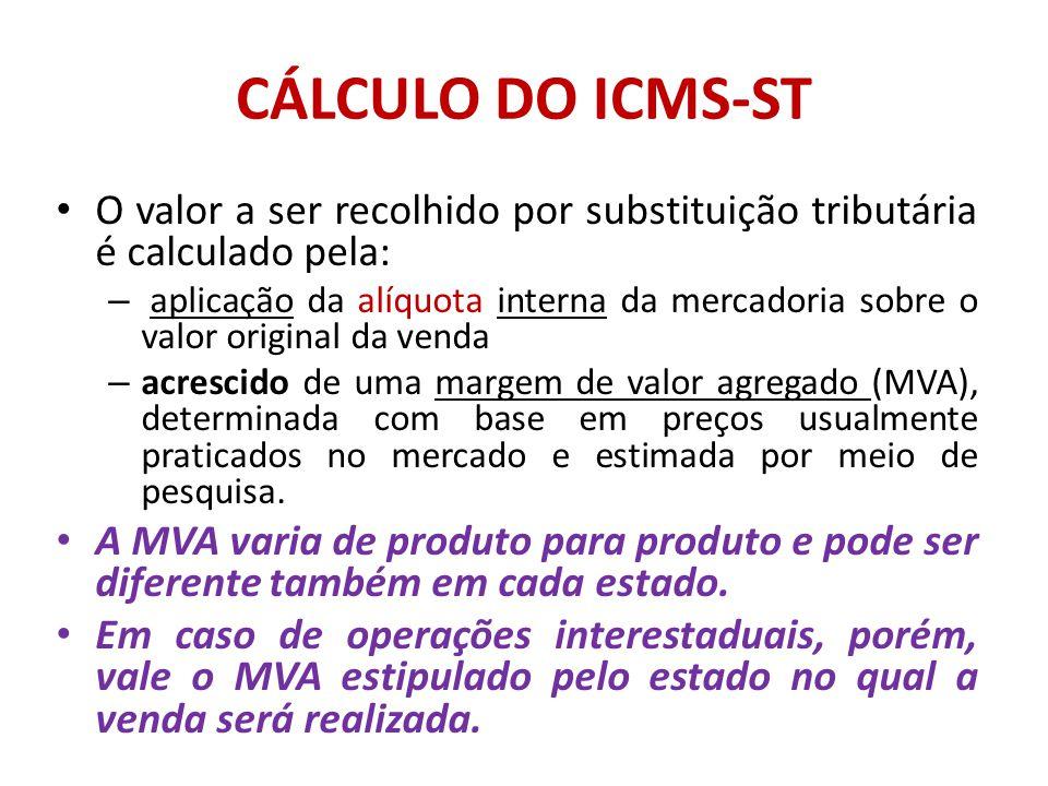 CÁLCULO DO ICMS-ST O valor a ser recolhido por substituição tributária é calculado pela:
