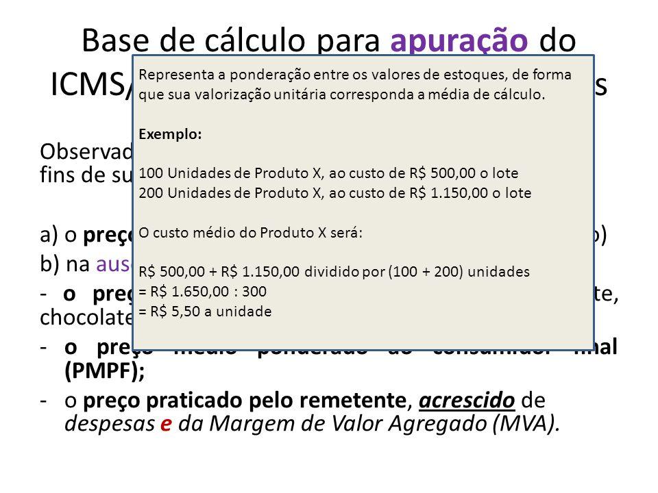 Base de cálculo para apuração do ICMS/ST nas operações subsequentes