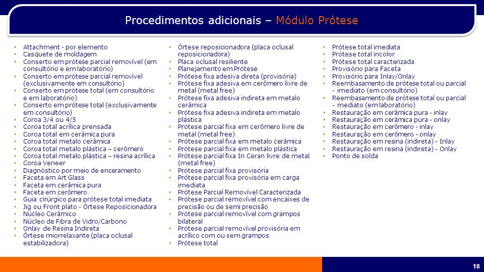 Procedimentos adicionais – Módulo Prótese