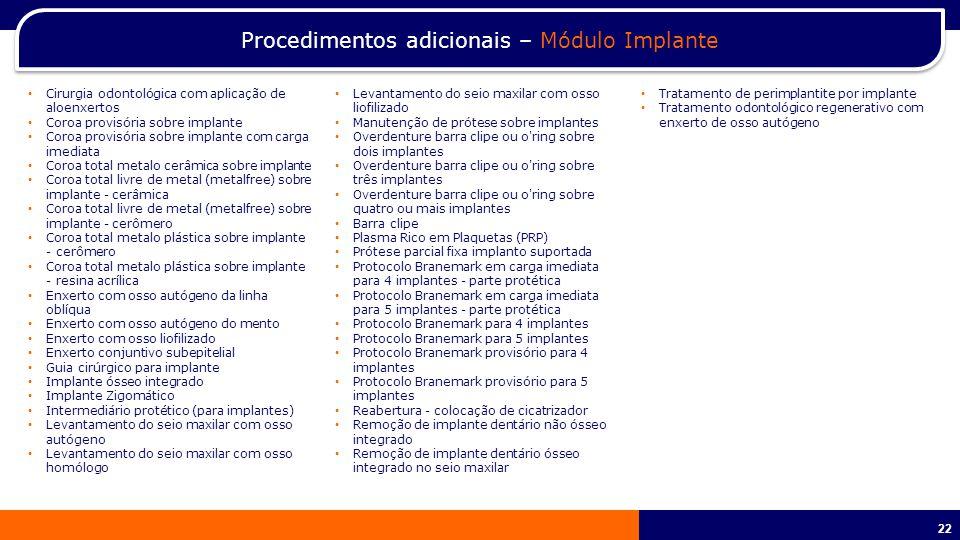 Procedimentos adicionais – Módulo Implante