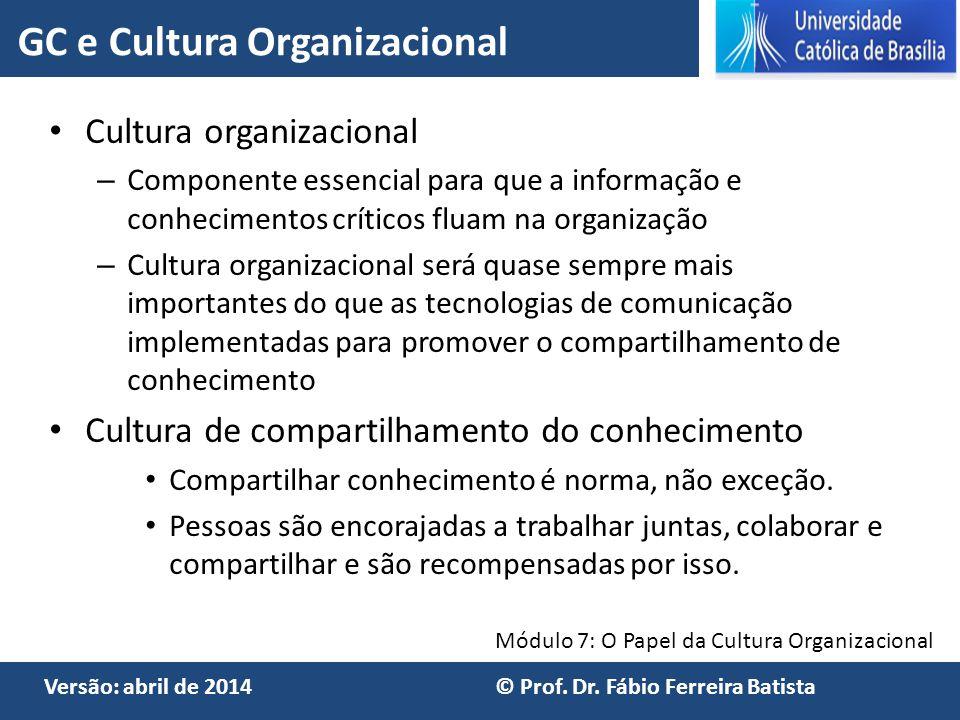 GC e Cultura Organizacional