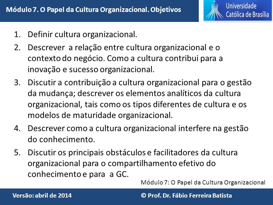 Definir cultura organizacional.