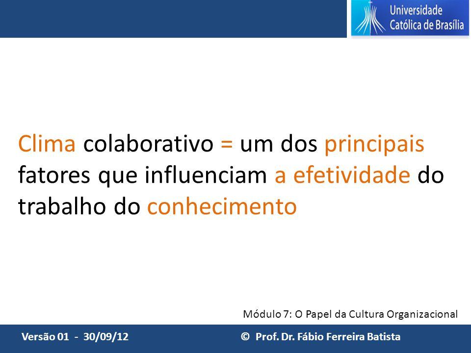 Clima colaborativo = um dos principais fatores que influenciam a efetividade do trabalho do conhecimento