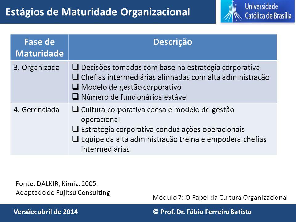 Estágios de Maturidade Organizacional