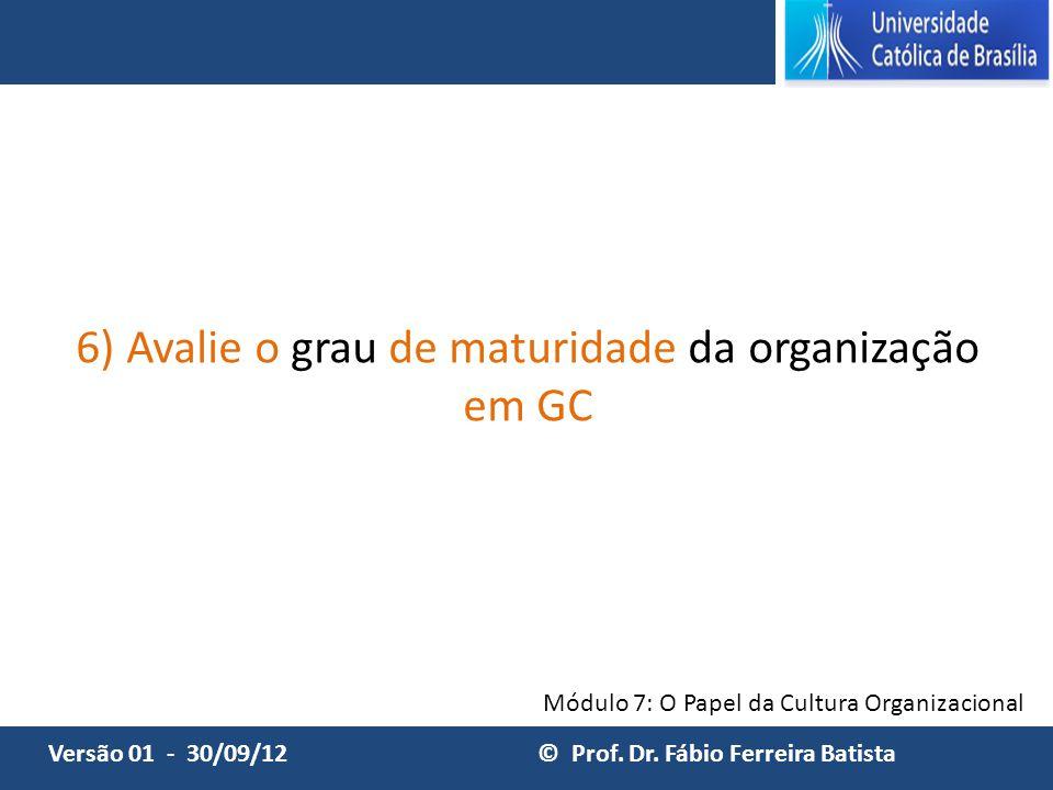 6) Avalie o grau de maturidade da organização em GC