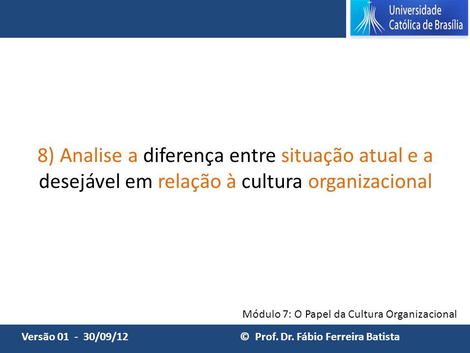 8) Analise a diferença entre situação atual e a desejável em relação à cultura organizacional