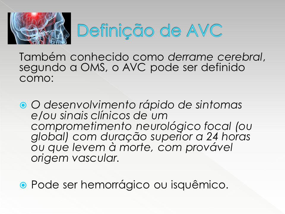 Definição de AVC Também conhecido como derrame cerebral, segundo a OMS, o AVC pode ser definido como: