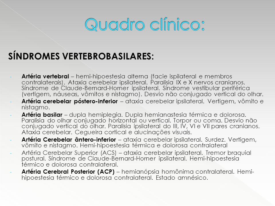 Quadro clínico: SÍNDROMES VERTEBROBASILARES: