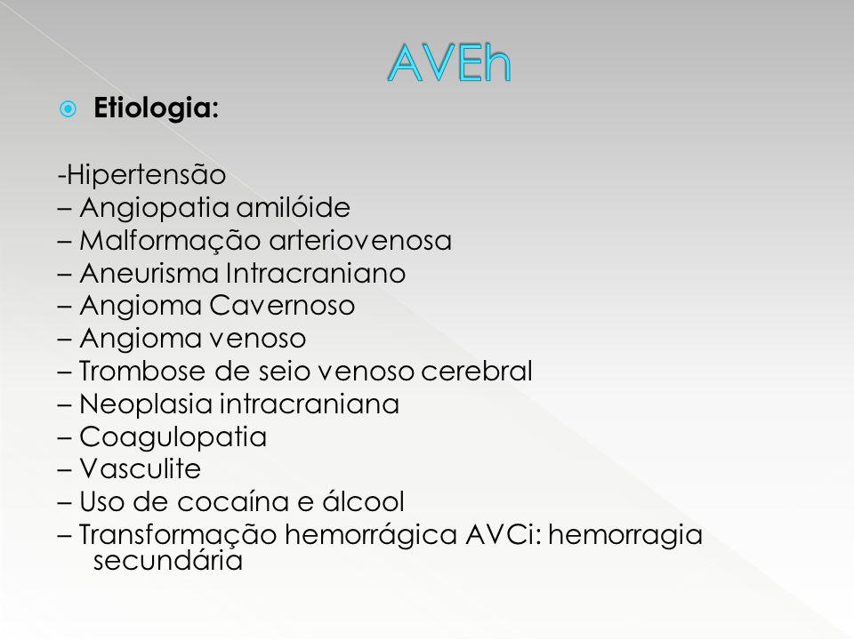 AVEh Etiologia: -Hipertensão – Angiopatia amilóide
