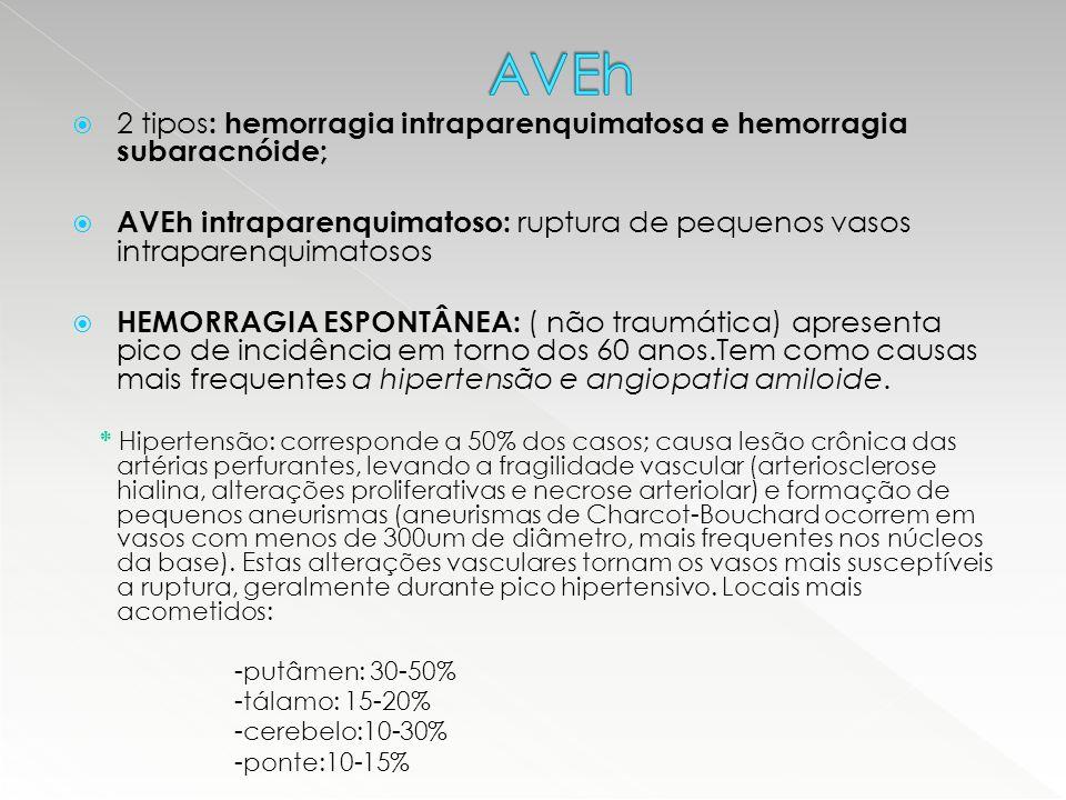 AVEh 2 tipos: hemorragia intraparenquimatosa e hemorragia subaracnóide; AVEh intraparenquimatoso: ruptura de pequenos vasos intraparenquimatosos.