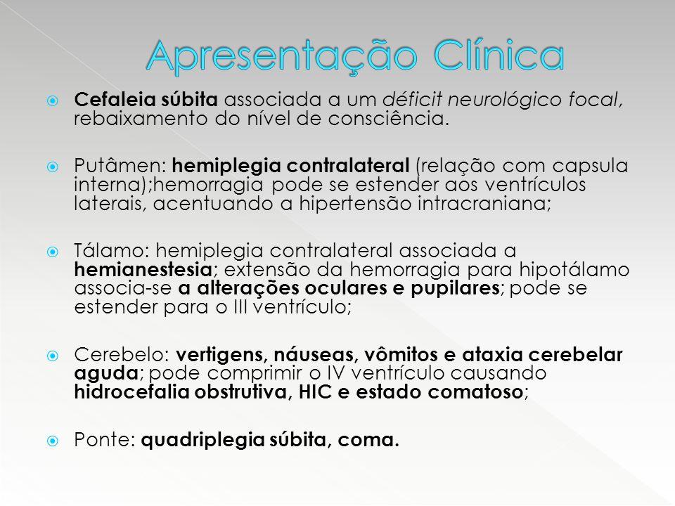 Apresentação Clínica Cefaleia súbita associada a um déficit neurológico focal, rebaixamento do nível de consciência.