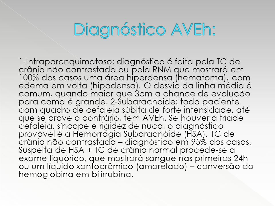 Diagnóstico AVEh: