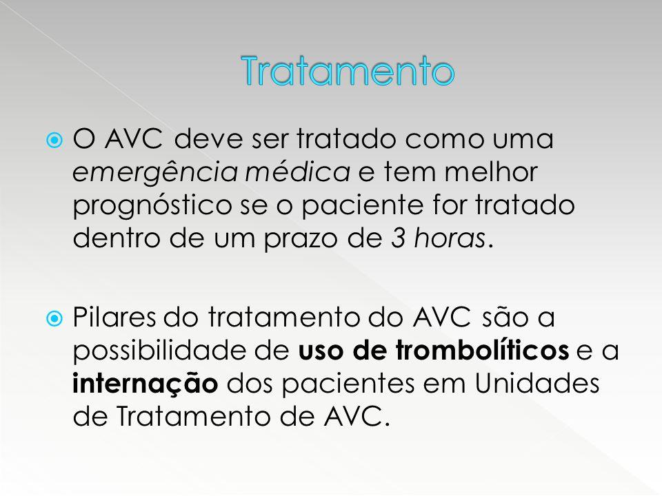 Tratamento O AVC deve ser tratado como uma emergência médica e tem melhor prognóstico se o paciente for tratado dentro de um prazo de 3 horas.
