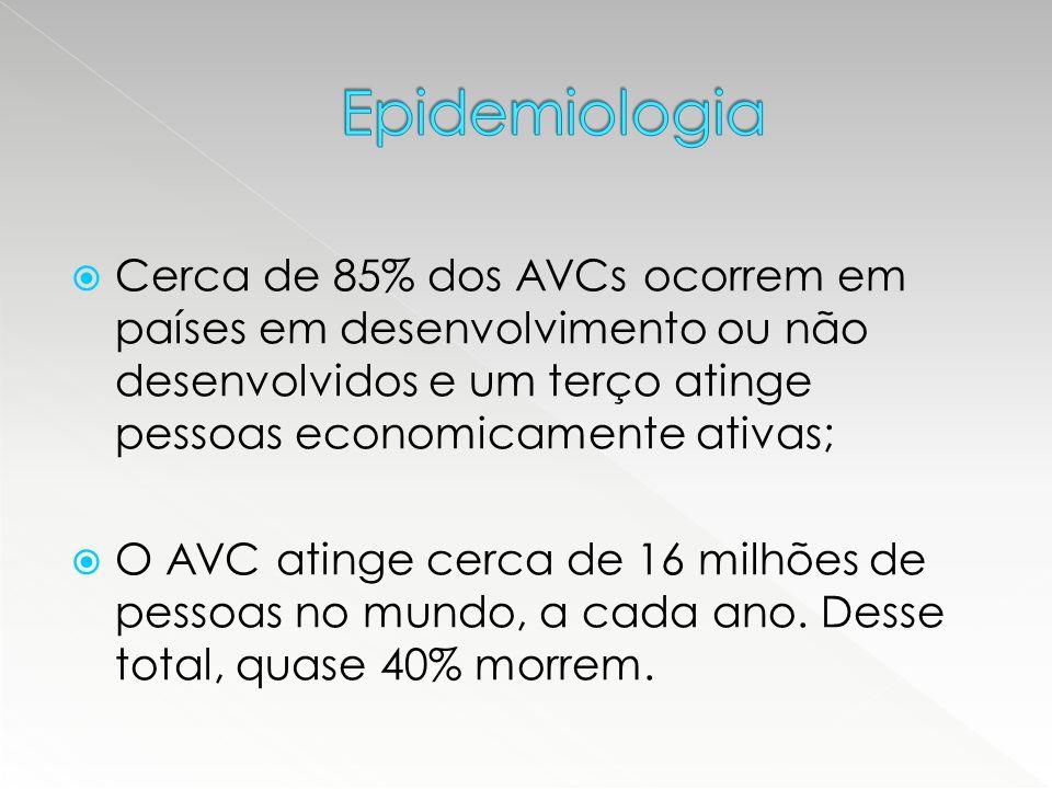 Epidemiologia Cerca de 85% dos AVCs ocorrem em países em desenvolvimento ou não desenvolvidos e um terço atinge pessoas economicamente ativas;
