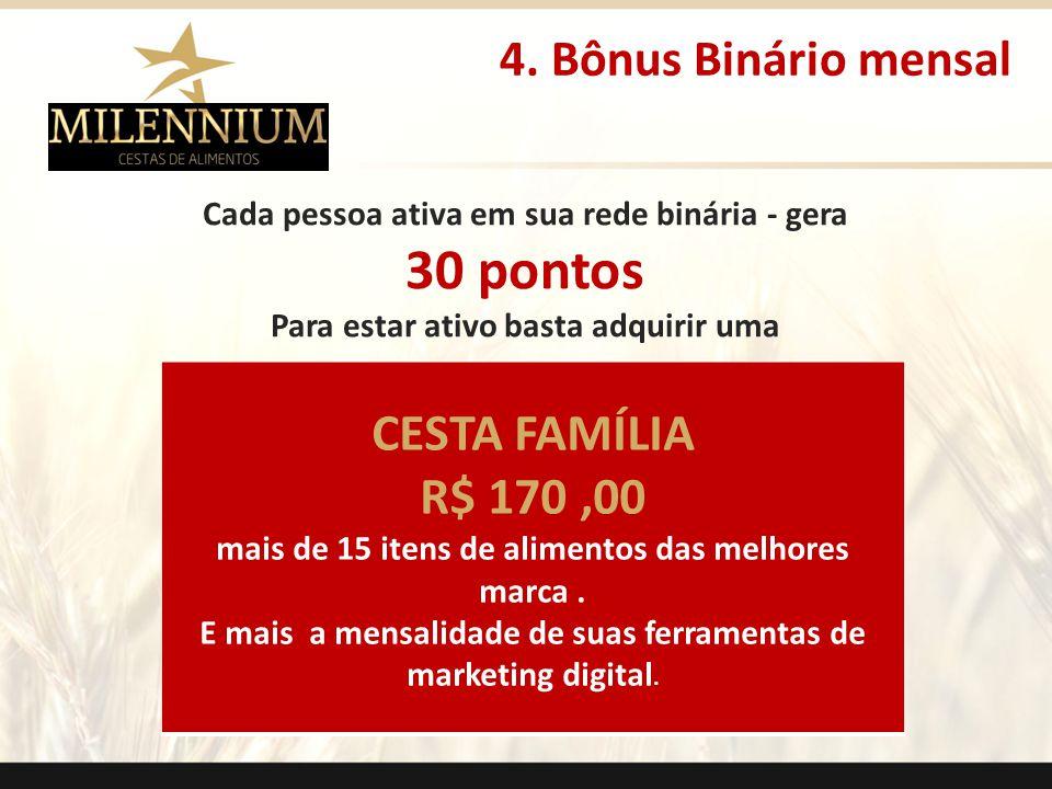 30 pontos CESTA FAMÍLIA R$ 170 ,00 4. Bônus Binário mensal