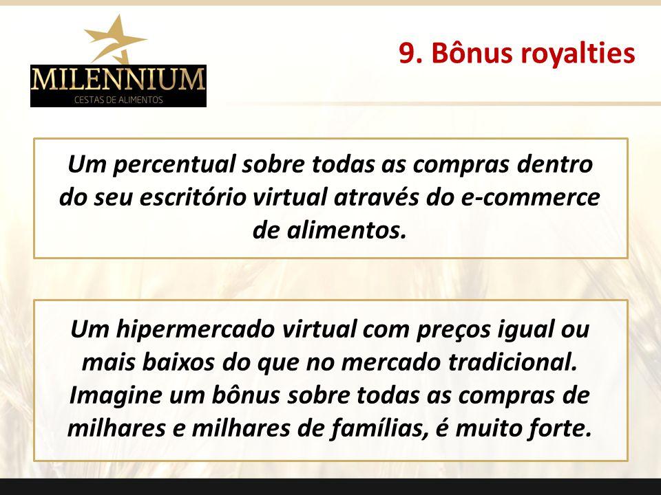 9. Bônus royalties . Um percentual sobre todas as compras dentro do seu escritório virtual através do e-commerce de alimentos.