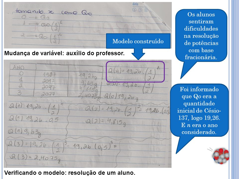 Os alunos concluíram que o modelo estava correto.