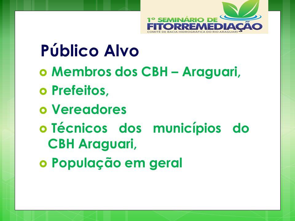 Público Alvo Membros dos CBH – Araguari, Prefeitos, Vereadores. Técnicos dos municípios do CBH Araguari,