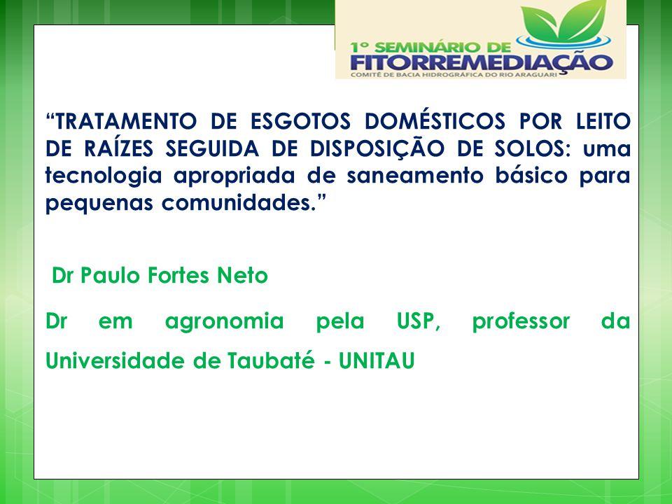 TRATAMENTO DE ESGOTOS DOMÉSTICOS POR LEITO DE RAÍZES SEGUIDA DE DISPOSIÇÃO DE SOLOS: uma tecnologia apropriada de saneamento básico para pequenas comunidades.
