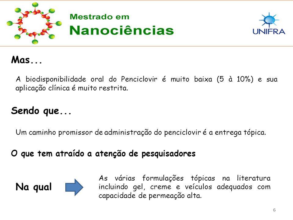 Mas... A biodisponibilidade oral do Penciclovir é muito baixa (5 à 10%) e sua aplicação clínica é muito restrita.