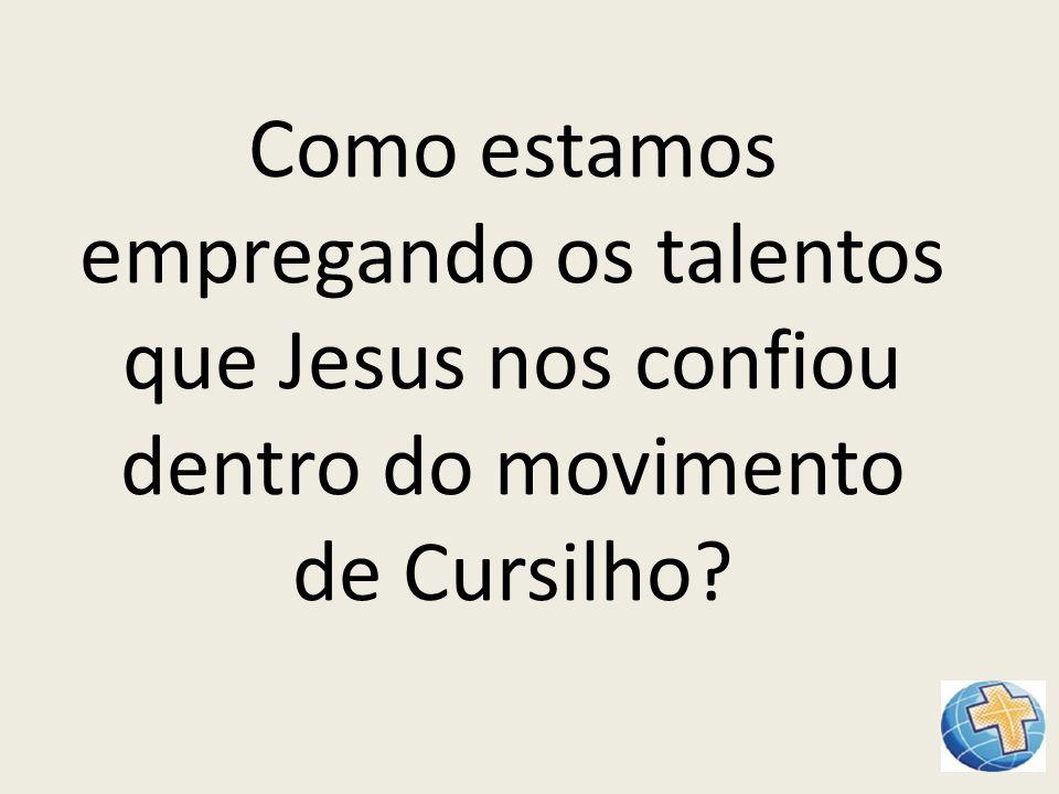 Como estamos empregando os talentos que Jesus nos confiou dentro do movimento de Cursilho