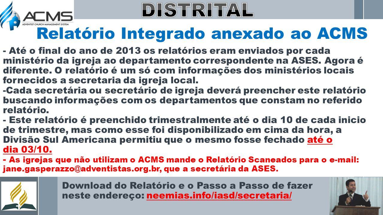 Relatório Integrado anexado ao ACMS