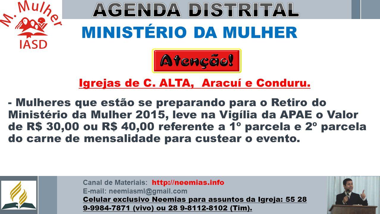 AGENDA DISTRITAL MINISTÉRIO DA MULHER