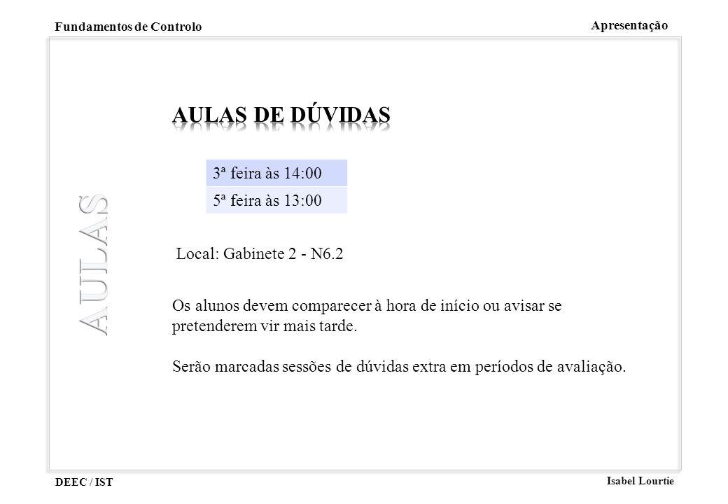 AULAS Aulas DE DÚVIDAS 3ª feira às 14:00 5ª feira às 13:00