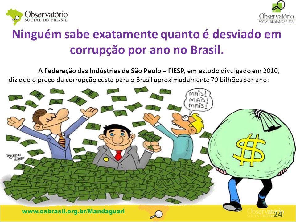 Ninguém sabe exatamente quanto é desviado em corrupção por ano no Brasil.