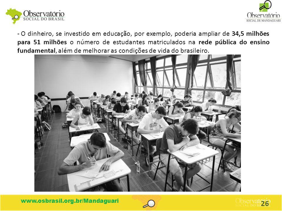 O dinheiro, se investido em educação, por exemplo, poderia ampliar de 34,5 milhões para 51 milhões o número de estudantes matriculados na rede pública do ensino fundamental, além de melhorar as condições de vida do brasileiro.